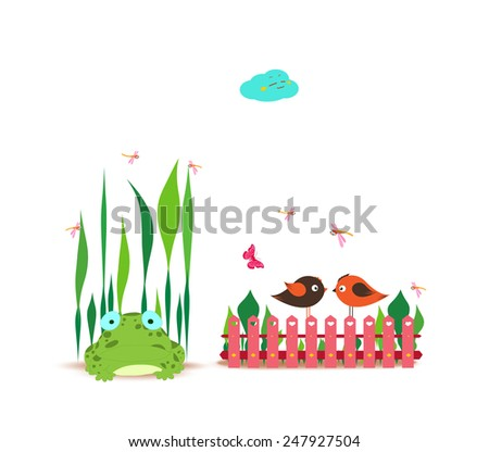 fence with spring couple bird and frog - stock photo