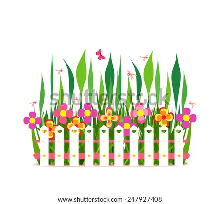 fence with spring flowers - stock photo