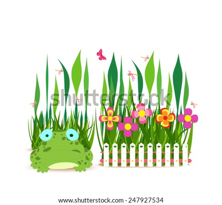 fence with spring flowers and frog - stock photo