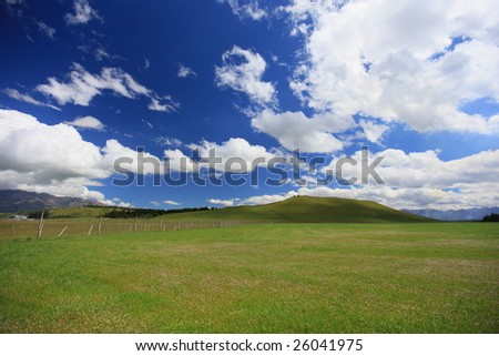 fences,grass and clouds