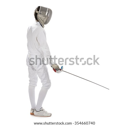 Fencing athlete isolated in white background - stock photo