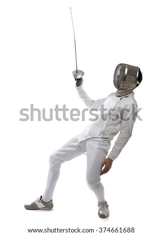 Fencing athlete wins the competition isolated in white background. - stock photo
