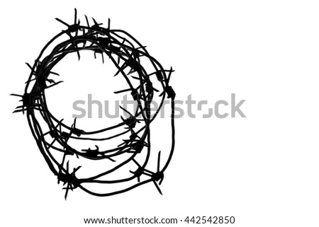 Fencing. Fence with barbed wire. Let. Jail. Thorns. Block. A prisoner. Barbed wire under tension. Holocaust. Concentration camp. Prisoners. Depressive background. - stock photo