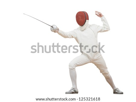 Fencing fencer in protective sport wear attacking with rapier foil isolated - stock photo