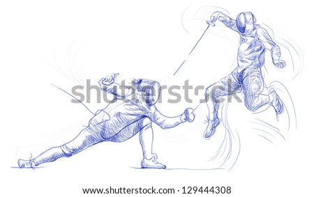 Fencing. /// Full-sized (original) hand drawing. /// Outlines in shades of blue isolated on white background. - stock photo