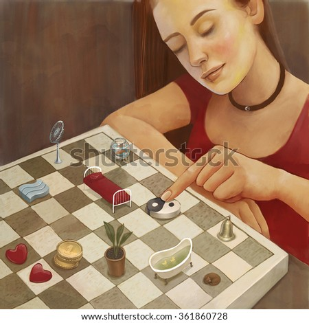 Feng shui illustration of a young woman arranging furniture and household objects on a chessboard - stock photo