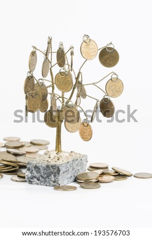 Feng shui tree and coins of the Russian Federation.