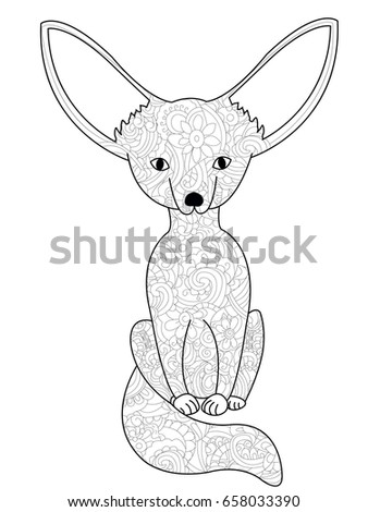 fennec fox coloring book for adults raster illustration anti stress coloring for adult - Fox Coloring Book