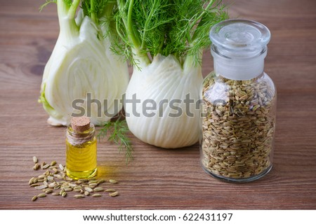 fennel bulb and seeds, oil, selective focus