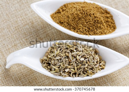 Fennel powder and seeds on texture background - stock photo