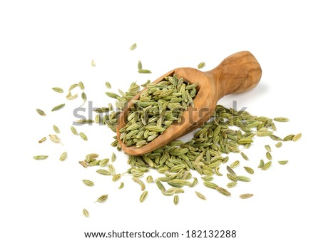 fennel seeds  in a wooden spoon isolated on white background - stock photo