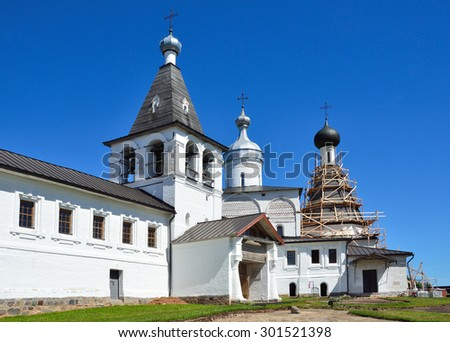Ferapontovo, Vologda region, Russia, July, 12, 2014. Gate Church of Ferapontov monastery - stock photo