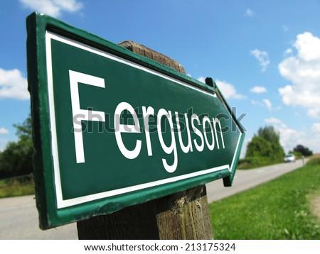 Ferguson signpost along a rural road - stock photo