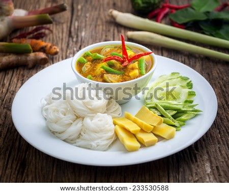 Fermented Rice Flour Noodles /kanomjeen - stock photo