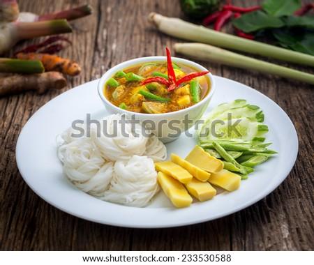 Fermented Rice Flour Noodles /kanomjeen - stock photo
