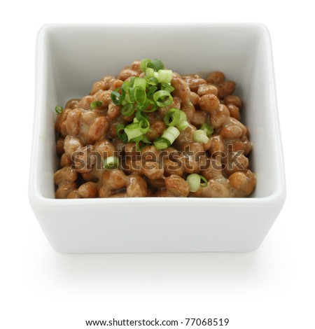 fermented soy beans , natto , japanese food - stock photo