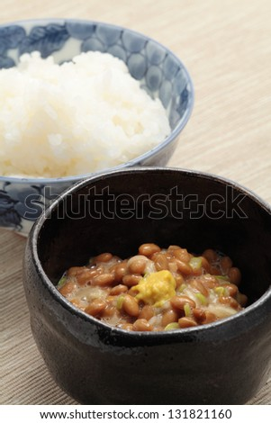 Fermented soybeans Natto, and boiled rice - stock photo