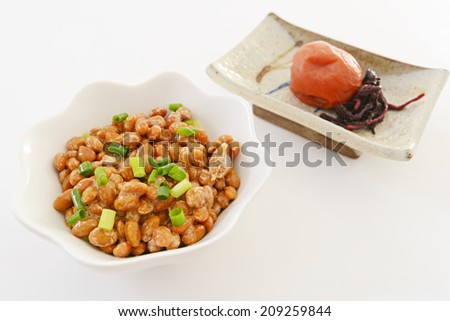 Fermented soybeans with pickled plum - stock photo