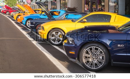 """FERNDALE, MI/USA - AUGUST 15, 2015: 14 Ford Mustang cars at """"Mustang Alley"""", part of the Woodward Dream Cruise. Woodward is a National Scenic Byway. - stock photo"""