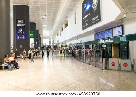 Ferno, Italy - July 11, 2016: Milan-Malpensa airport arrivals hall
