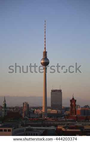 Fernsehturm, Berlin television tower at golden hour