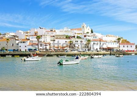 Ferragudo in the Algarve Portugal - stock photo