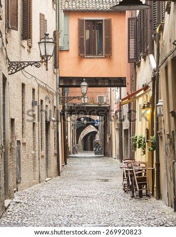 Ferrara (Emilia-Romagna, Italy): typical street in the medieval quarter