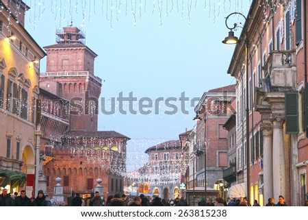 FERRARA, ITALY -DECEMBER 30: piazza Cattedrale. For its beauty and cultural importance it has been qualified by UNESCO as World Heritage Site in Ferrara, Italy on December 30, 2012 - stock photo