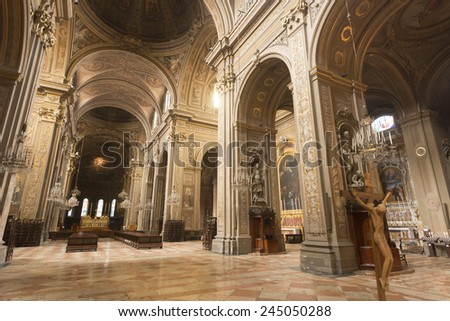 FERRARA, ITALY - JULY 24, 2014: interior of the medieval cathedral, built from 12th to 17th century
