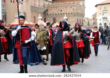 Ferrara, Italy - 29 march 2015 - Oath of the district in front of the Duke d'Este - Parade of appearing in front of the castle