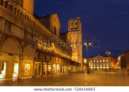 Ferrara, Italy - 7 September, 2016: Street of Ferrara at night