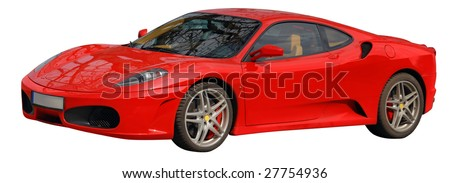 Ferrari italian car. Image with cut out path isolated on white.