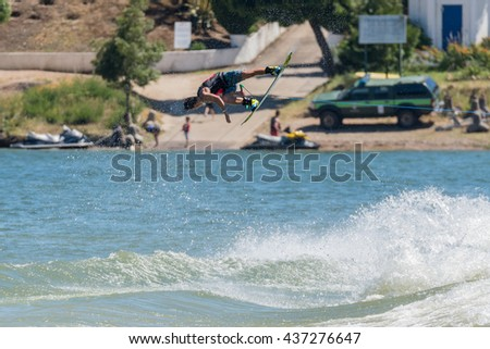 FERREIRA DO ZEZERE, PORTUGAL - JUNE 12, 2016: Nic Rapa (AUS) during the 2016 Nautique European Pro Am presented by Rockstar Energy.