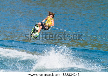 FERREIRA DO ZEZERE, PORTUGAL - SEPTEMBER 19, 2015: Harley Clifford (AUS) during the WWA Supra World Wakeboard Championship 2015 in Ferreira do Zezere, Portugal.
