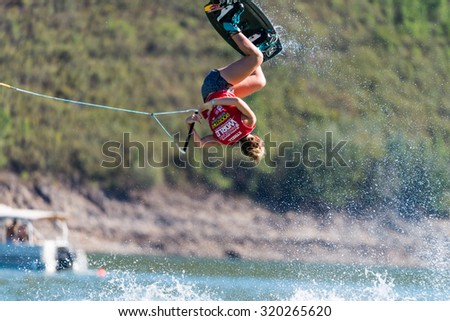 FERREIRA DO ZEZERE, PORTUGAL - SEPTEMBER 19, 2015: Meagan Ethell (USA) during the WWA Supra World Wakeboard Championship 2015 in Ferreira do Zezere, Portugal.