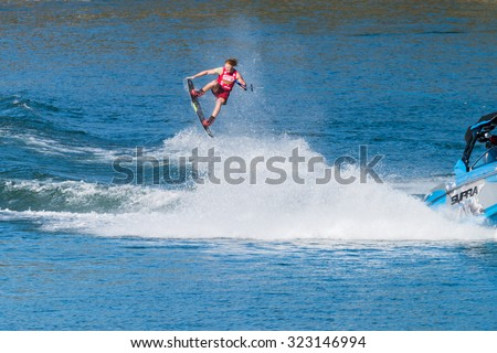 FERREIRA DO ZEZERE, PORTUGAL - SEPTEMBER 19, 2015: Noah Flegel (USA) during the WWA Supra World Wakeboard Championship 2015 in Ferreira do Zezere, Portugal.