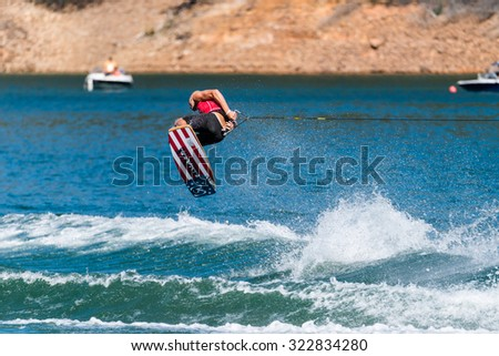 FERREIRA DO ZEZERE, PORTUGAL - SEPTEMBER 19, 2015: Reed Hansen (USA) during the WWA Supra World Wakeboard Championship 2015 in Ferreira do Zezere, Portugal.