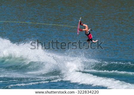 FERREIRA DO ZEZERE, PORTUGAL - SEPTEMBER 19, 2015: Taylor McCullough (USA) during the WWA Supra World Wakeboard Championship 2015 in Ferreira do Zezere, Portugal.