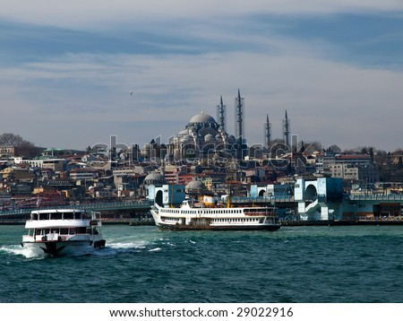 Ferries in Istanbul - stock photo