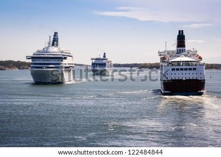 Ferries on a traffic jam on the Baltic Sea - stock photo
