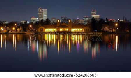 Ferril Lake in Denver City Park In the Night