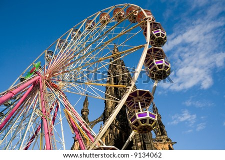 Ferris Wheel at Edinburgh's Princes Street. Scotland, United Kingdom