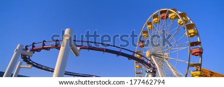 Ferris wheel at Santa Monica Pier, California - stock photo