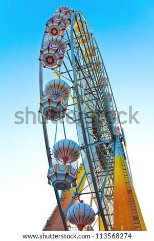 ferris wheel at sunrise - stock photo
