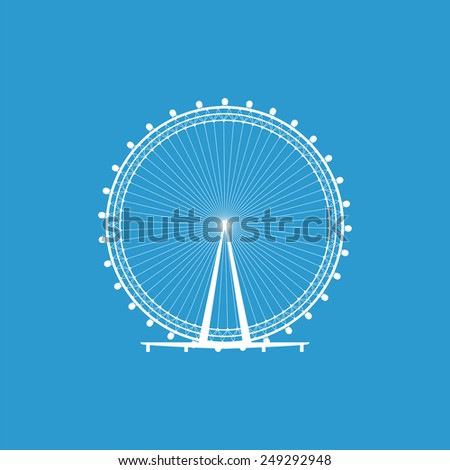Ferris Wheel icon, isolated, white on the blue background. Exclusive Symbols  - stock photo