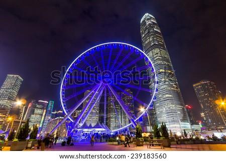 Ferris Wheel in Hong Kong  - stock photo
