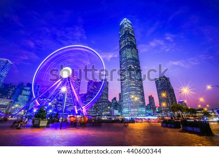 Ferris Wheel in Hong Kong City Night Light