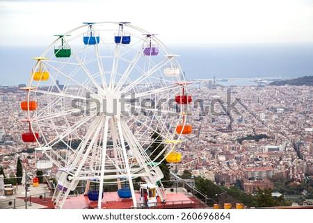 Ferris wheel in Tibidabo, Barcelona - stock photo
