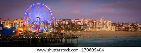 Ferris wheel on Santa Monica Pier, Santa Monica, Los Angeles County, California, USA - stock photo