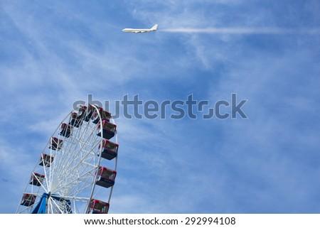 Ferris wheel on the blue sky background,Taiwan - stock photo